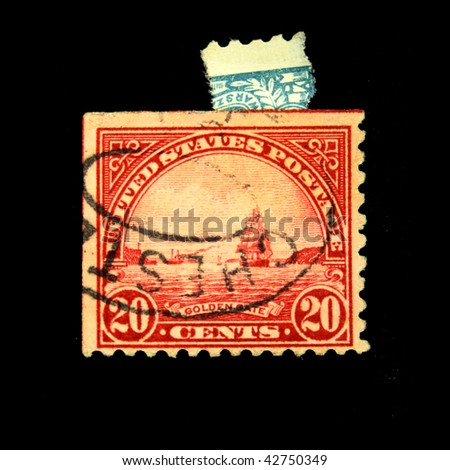 USA - CIRCA 1900s: A stamp printed in USA shows Golden Gate in San Fracisco, circa 1900s