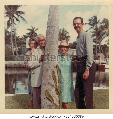 USA- CIRCA 1950s: Vintage photo shows family on vacation.   - stock photo