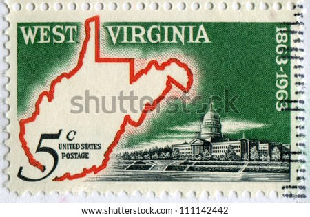USA - CIRCA 1963: stamp printed in United states, shows Map of West Virginia & State Capitol, Centenary of West Virginia Statehood, designer: Dr. Dwight Mutchler, circa 1963