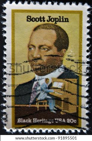 USA - CIRCA 1997 : stamp printed in USA shows Scott Joplin American composer and pianist, circa 1997 - stock photo