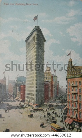 USA-CIRCA 1909: Vintage postcard of The Flatiron Building, which was called the Fuller Building when it was constructed, was one of the tallest buildings in New York City upon its completion in 1902. - stock photo
