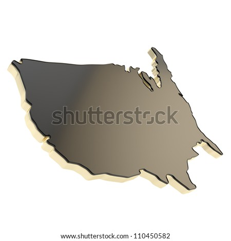 USA country shaped copyspace dimensional black glossy plate with golden edging isolated on white background - stock photo