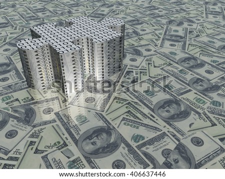 USA Currency Puzzle 3D Render - stock photo