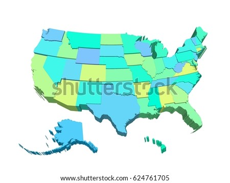 usa 3d map highly detailed with alaska and hawaii illustration with separated states