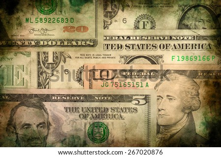 USA dollar money banknotes texture background or backdrop, grunge vintage style