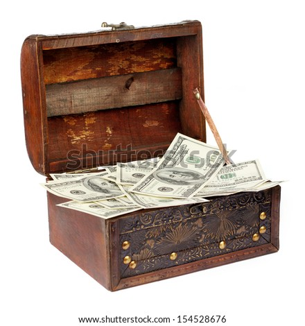USA dollars in box, isolated on white background