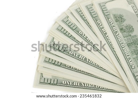 USA dollars on white background