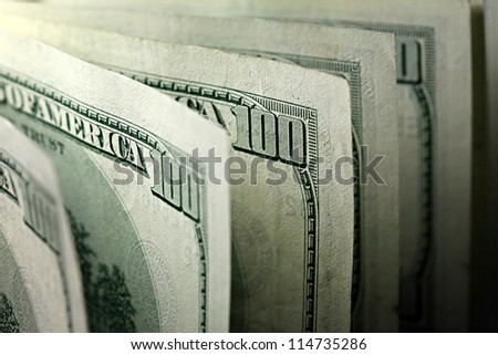 USA dollars. Selective focus. - stock photo