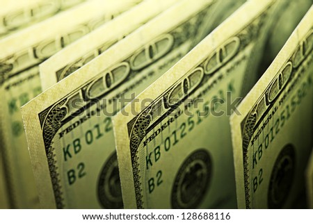 USA dollars. Small depth of field. - stock photo