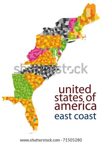 Usa East Coast Map Stock Illustration Shutterstock - East coast of united states
