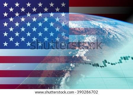 USA economy concept - Financial data and United States of America flag. Earth with financial data. Elements of this image are furnished by NASA.