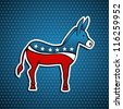USA elections Democratic donkey symbol in sketch style over blue stars background. - stock photo