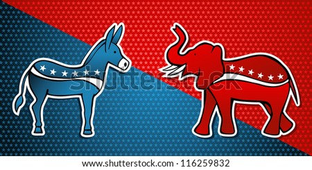 USA elections Democratic vs Republican party in sketch style over stars background. - stock photo