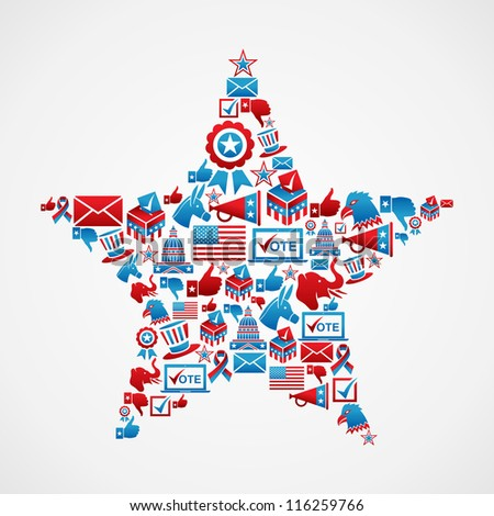 USA elections icon set in star shape. - stock photo