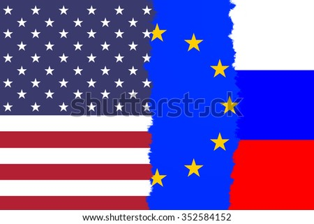 USA, EU and Russia torn flag. Conceptual and symbolic illustration of the situation between USA, EU and Russia.