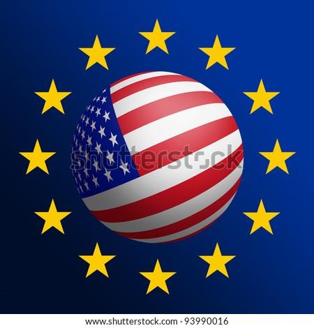 USA - EU cooperation. Raster graphics - stock photo