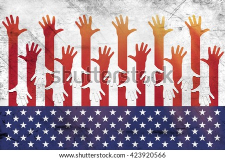 USA flag and hands - Grunge. Poster, flyer, sticker.