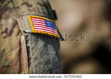 USA flag and US Army  - stock photo
