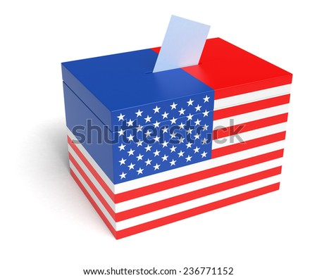USA Flag Ballot Box, 3D Rendering - stock photo