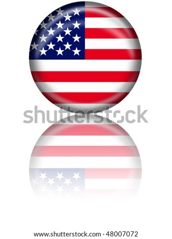 USA Flag Button with reflection - stock photo