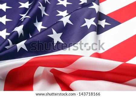 USA flag, close-up. Studio shot. - stock photo