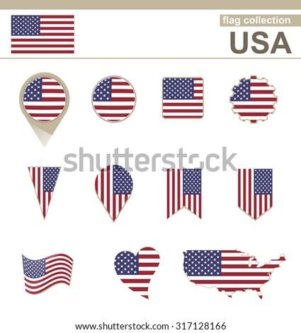 USA Flag Collection, 12 versions, Rasterized Copy - stock photo