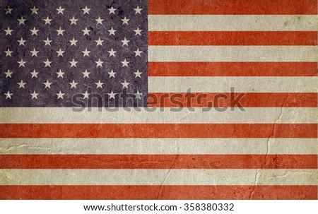 Usa flag. Grunge background - stock photo