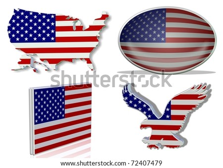 USA flag in 4 different designs, in shape of the country, oval shape, flat on an angle, in a shape of a national symbol / USA flag / 4 different looks of USA flag