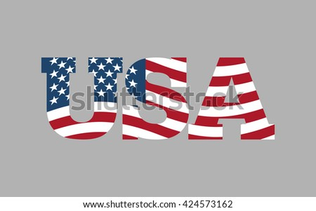 USA flag in text. American flag in letters. National emblem. Patriotic illustration - stock photo