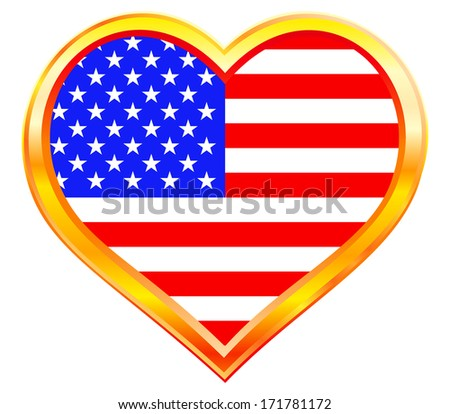USA flag in the heart gold frame - stock photo
