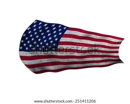 USA FLAG IN THE WIND AGED