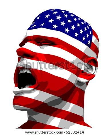 USA Flag Man Yelling - stock photo
