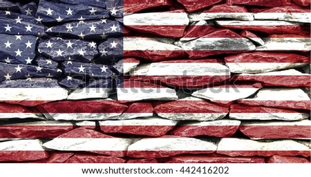 usa flag on stone wall texture , united state flag on stone wall abstract background  - stock photo