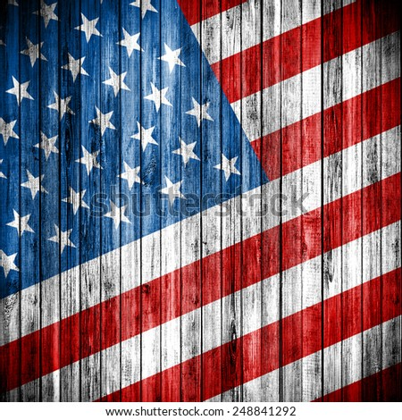 USA flag on the grunge wood wall. United States of America - stock photo