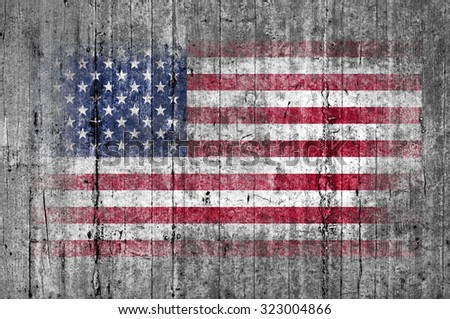 USA flag painted on background texture gray concrete - stock photo