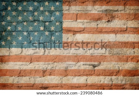 USA flag painted on brick wall - stock photo