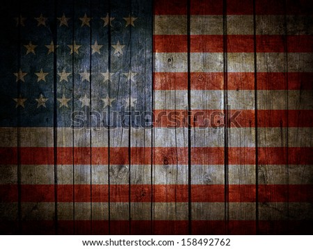 USA flag painted on dark wooden background - stock photo