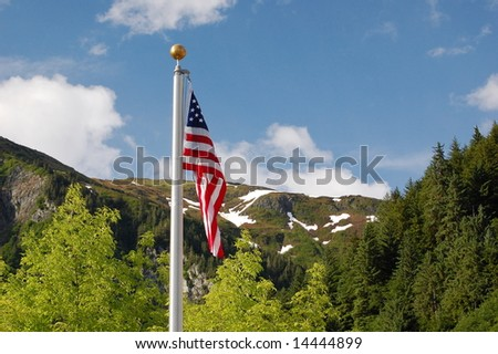 USA FLAG POSTCARD - stock photo