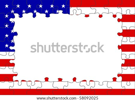 USA flag puzzle border - stock photo