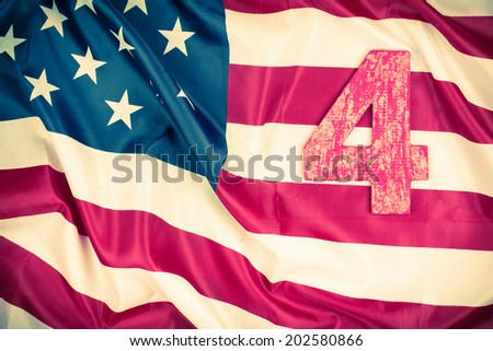 USA flag retro photo. Fourth of July - Independence Day greeting card concept - stock photo