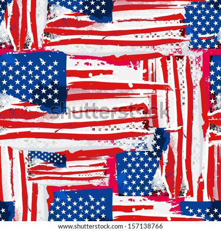 USA Flag. Seamless vector background. - stock photo