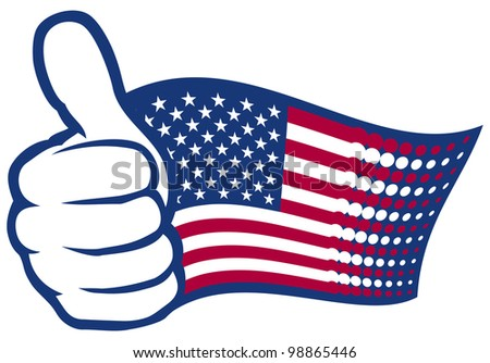 USA flag (United States of America). Hand showing thumbs up. - stock photo