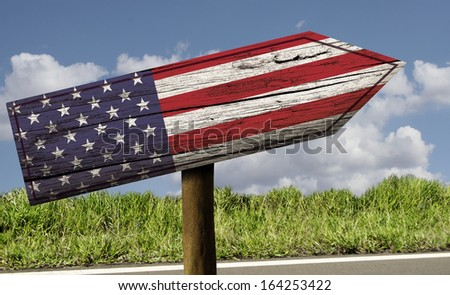 USA flag wooden sign on the road - North America - stock photo