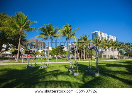 USA, Florida, Miami Beach, JANUARY 19 , 2017. Art Basel week. Collins Park, South beach.