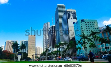 USA. FLORIDA. MIAMI BEACH. July - 14, 2017: Downtown Miami Buildings and skyscrapers.