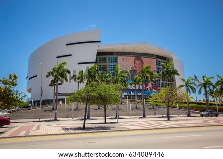 USA. FLORIDA. MIAMI. MAY, 2017: American Airlines Arena. Home of the Miami Heat basketball team.
