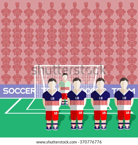 USA Football Club Soccer Players Silhouettes. Computer game Soccer team players big set. Sports infographic. Football Teams in Flat Style. Goalkeeper Standing in a Goal. Raster illustration. - stock photo