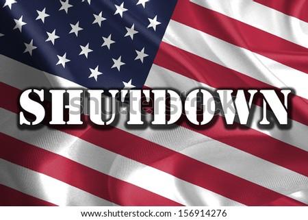 USA Government Shutdown Text Message on USA Flag - stock photo