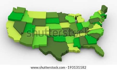 USA green map image. Concept of ecology, weather preservation, clean country, save earth. 3D map in levels - stock photo