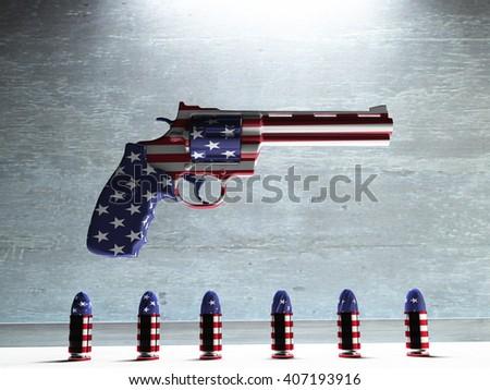 USA Gun  and Bullets 3D Render - stock photo